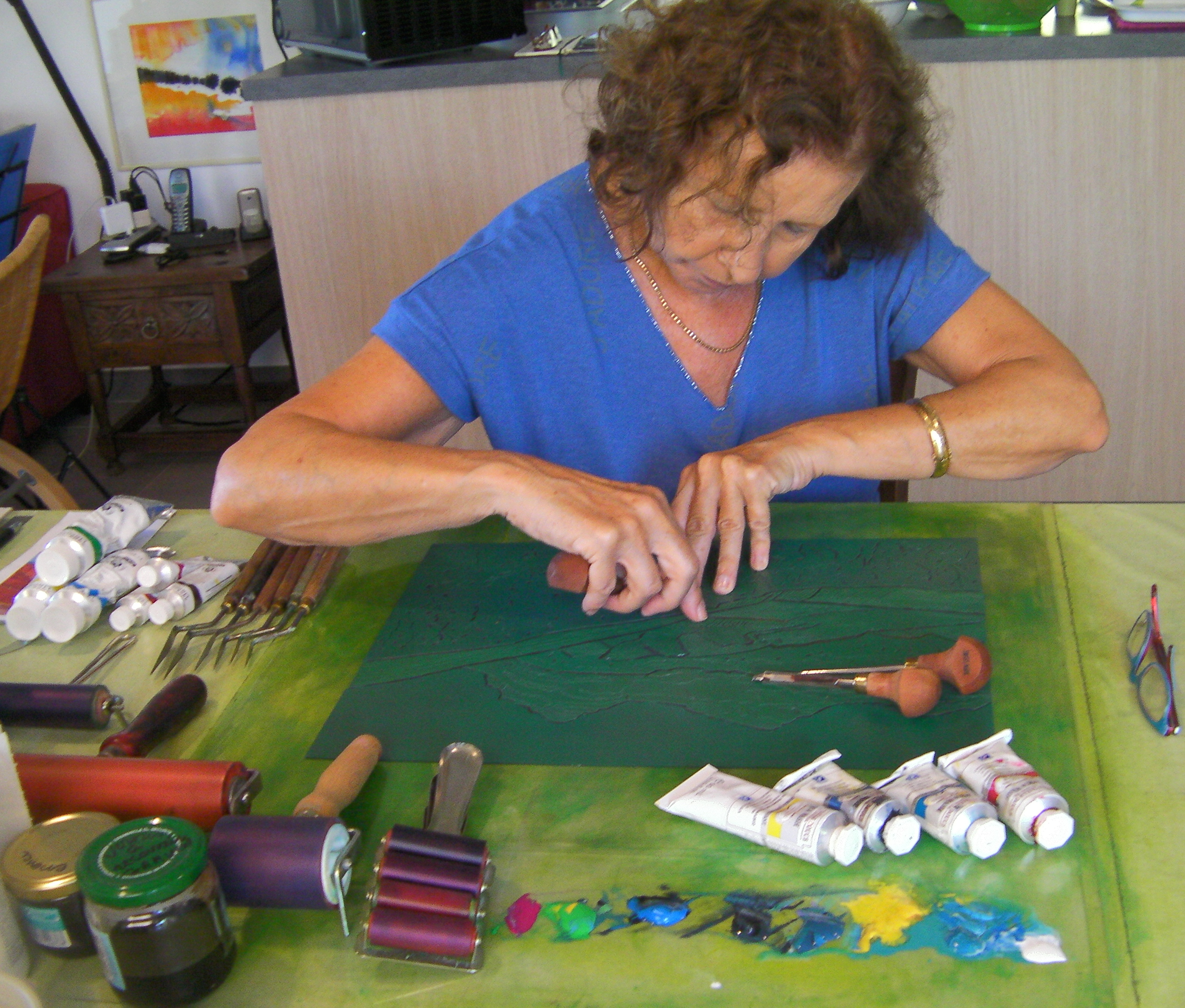 atelier gravure Antibes et Corse linogravure