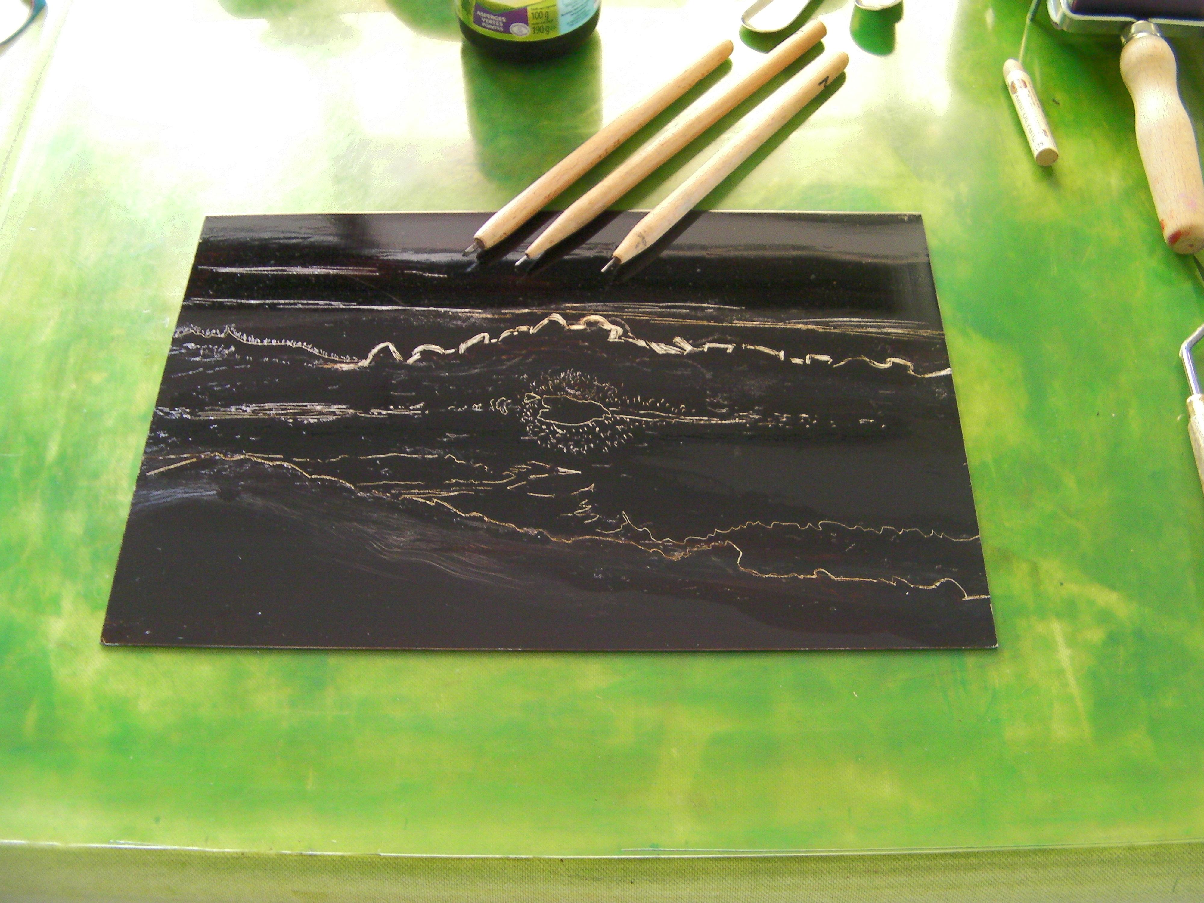 gravure sur métal vernis atelier corse antibes